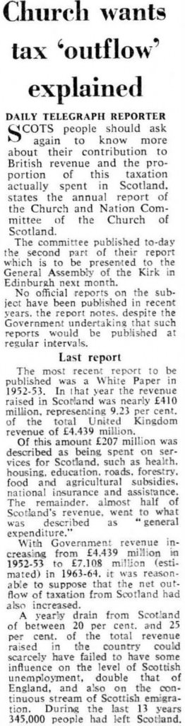 Tax outflow Telegraph 1964