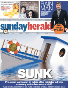 Sunday Herald Front Page