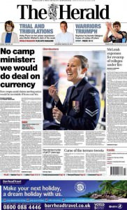 Herald Front page follows up on Guardian story