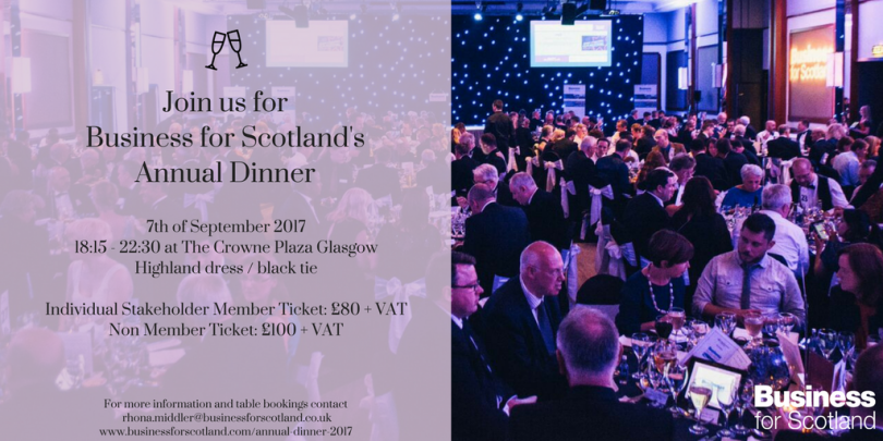 Join us for the Business for Scotland annual dinner